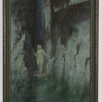"Hermann Hendrich ""symbolist bathing nude"" 1900 - Art Nouveau"