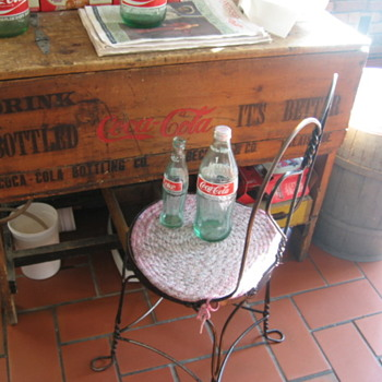 Early Coca Cola Wooden Ice Chest w/ Bottles - Coca-Cola