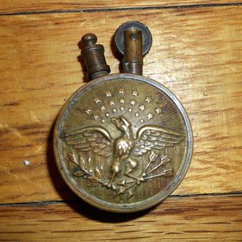 Antique Brass Spanish American War ? WWI ? Era Cigarette Lighter Eagle & Shield sides