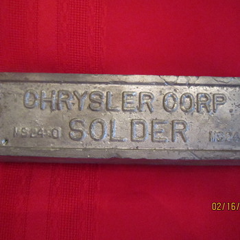 Antique Old Chrysler Corporation MS2450 Solder Block Bar  - Advertising