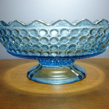 Blue glass footed candy dish. Has a mark but unable to find maker name. - Art Glass