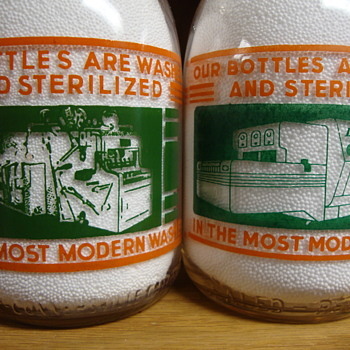 TWO MILLER DAIRY CREAM TOP QUARTS SHOWING THEIR MACHINERY ON THE BOTTLE LINE - Bottles
