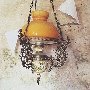 Antique hanging oil lamp - Lamps