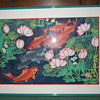 Koi fish print signed.