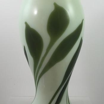 Uranium Glass Pulled Leaf & Vine Vase - Unknown Maker - Art Glass