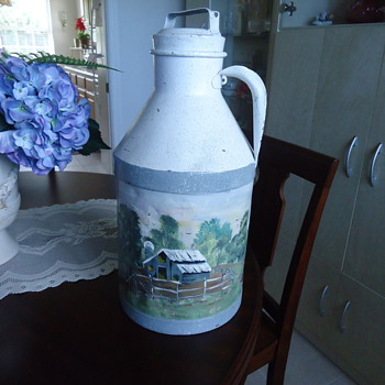 PAINTED ANTIQUE MILK CAN.. - Bottles