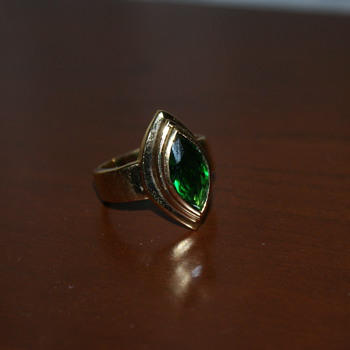 "Costume Ring with Green ""Stone"" - Costume Jewelry"