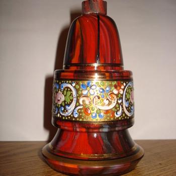 Marmorierte red glass perfume bottle  - Art Glass