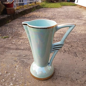 Art Deco / Neo Classical water jug in a finish similar to lusture ware, looks green from a distance, but the colour changes - Art Deco