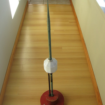 Old Lightning Rod with D&S milk glass globe mounted on old wood Foundry Mold - Tools and Hardware