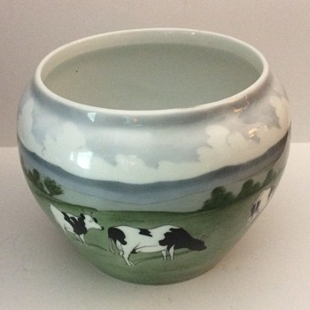 Porcelain Vase w/Underglaze Painting of Grazing Cows - Pottery