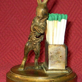 Victorian Era Bronze Hare Match Stick Holder With Striker Pad - Animals