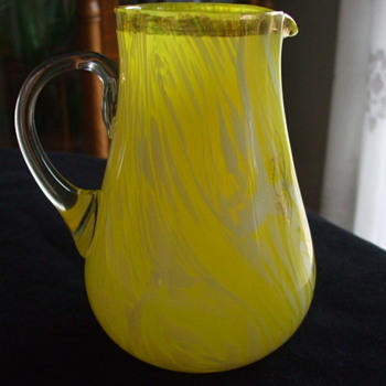 Squatty HARRACH/MOSER Yellow Variegated Souvenir Pitcher of RUGEN, Germany - Art Glass