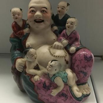 Antique Buddha Figurine w/5 babies - Asian