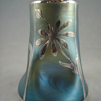 Loetz  PN I-7881 or II-633 vase with sterling silver overlay  - Art Glass