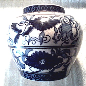 Chinese Blue and White Jar or Vase /Bird and Rabbit with Floral Designs/ Unknown Age - Asian