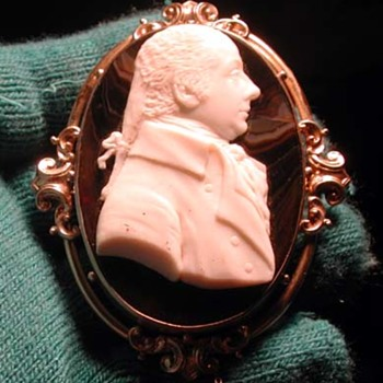 Huge shell and agate cameo of man - Victorian Era