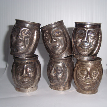 Vintage Metal Mini Trinket Character Head Cups With Handle
