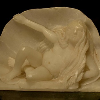 Carved Alabaster 'Elderly Venus in Shell' - Fine Art