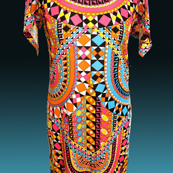 Late 1960s -1970s Mosaic Psychedelic Geometric Italian Silk Maxi Dress from London - Womens Clothing