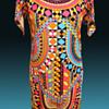 Late 1960s -1970s Mosaic Psychedelic Geometric Italian Silk Maxi Dress from London