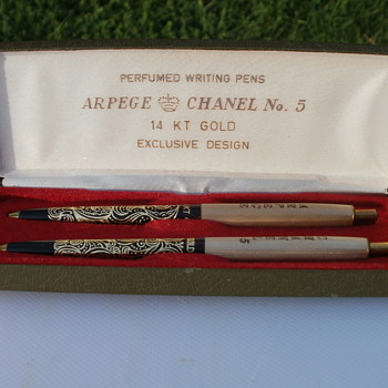 14 kt Gold Filigree Chanel No. 5  and Arpege Perfumed Pen Set Questions - Pens