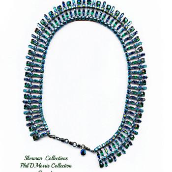Very Rare Sherman Signed Green & Sapphire & Montana Blue Rhinestone Choker Necklace In Egyptian Styling - Costume Jewelry