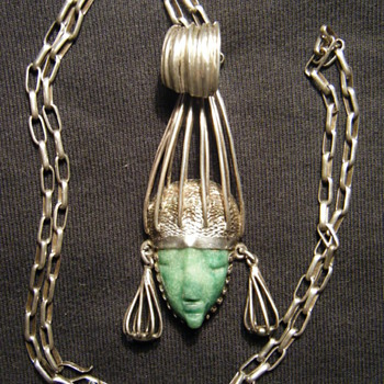 STERLING SILVER JADE MEXICAN PENDANT AZTEC MAYAN 3.5 INCHES
