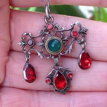 Austro - Hungarian Silver Agate and Garnet Pendant - Fine Jewelry
