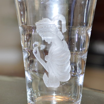 Etched Glass Or Crystal Vase Girl with Flower - Glassware