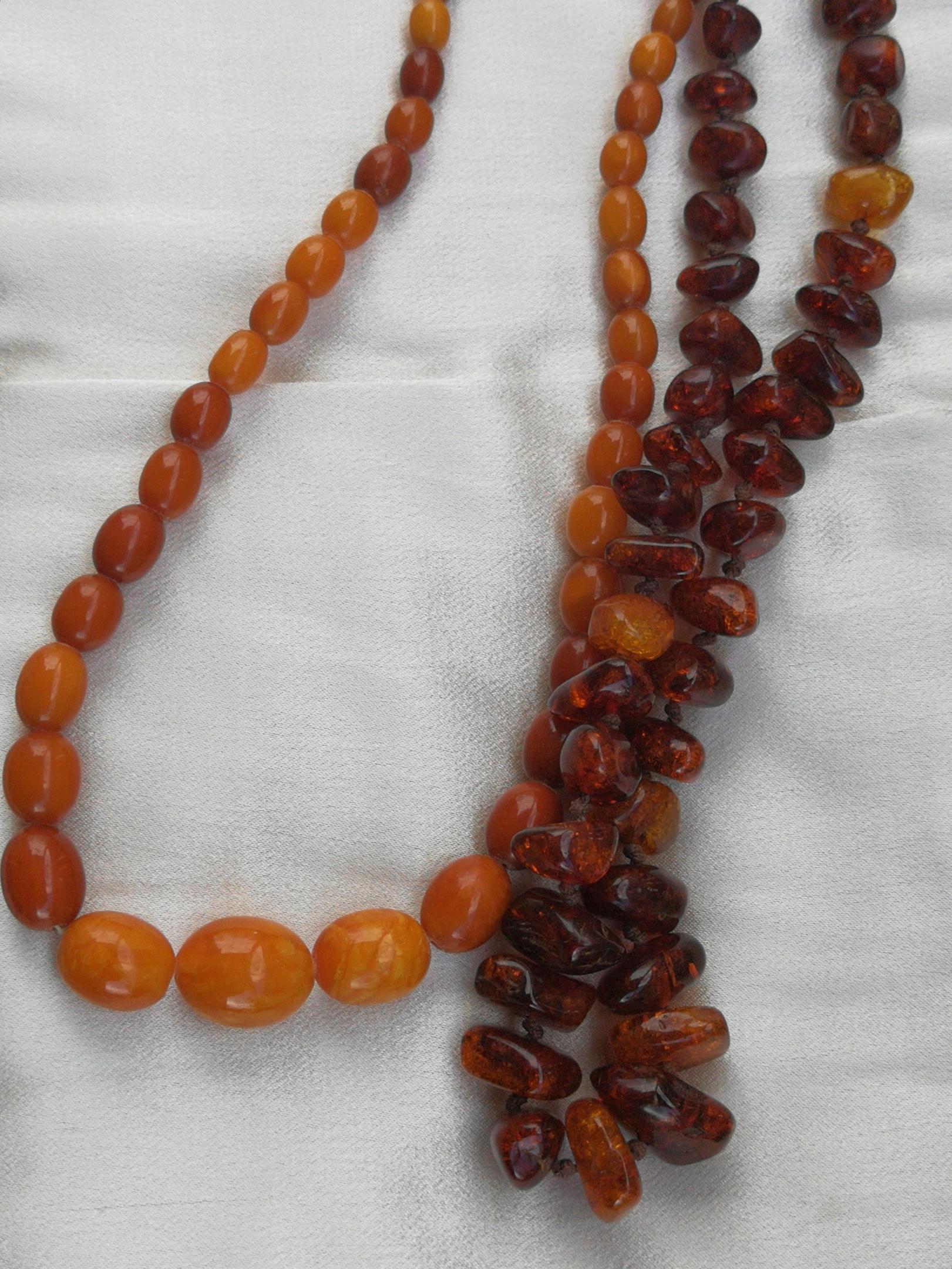 Antique vintage  amber beaded statement necklace