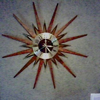 "Elgin Walnut or Teak Brass ""Sunburst"" / ""Starburst Clock"" /  Circa 1960's 1970's - Clocks"