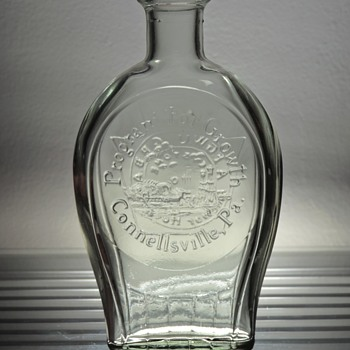 1972 Anchor Hocking Connellsville Flask Bottle Clear Glass Embossed Program For Growth Unity Keystone Pennsylvania - Bottles