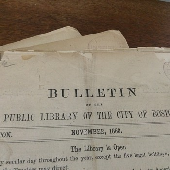 Boston Public Library Bulletins, 1870's