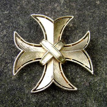 Crown Trifari Maltese Cross Brooch - Costume Jewelry