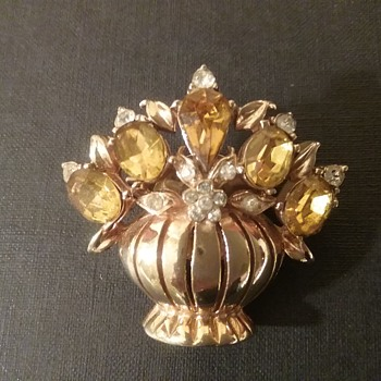 Coro flower basket brooch  - Costume Jewelry