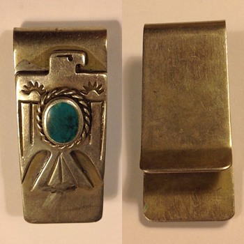 Silver Navajo (?) money clip, American Indian  - Native American