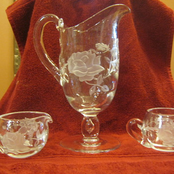 Etched glass pitcher, sugar & creamer - Art Glass