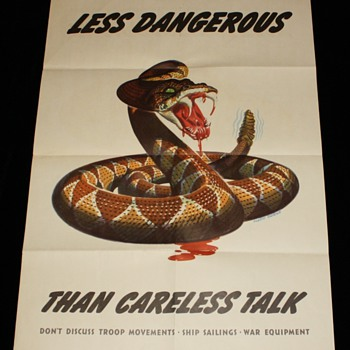 "Original WWII 1944 ""Less Dangerous Than Careless Talk"" Offset Lithograph - Posters and Prints"