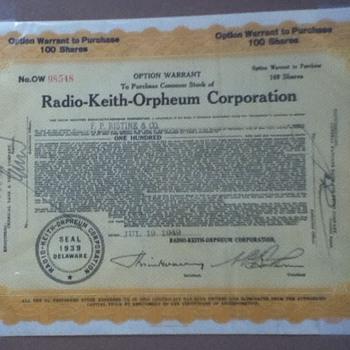 RKO Stock Certificate - Paper