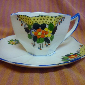 Possibly early Australian hand made and hand painted cups and saucers - Art Deco