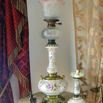 1880's German Porcelain Hand Painted Kerosene Lamp w Cut Font - Lamps