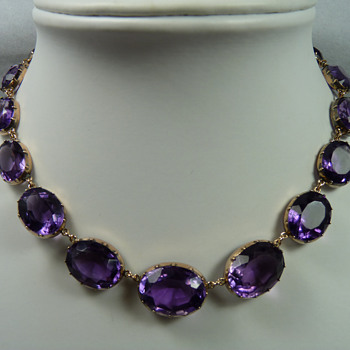 Anna Wintour style Victorian Amethyst & Gold Riviere Necklace - Fine Jewelry