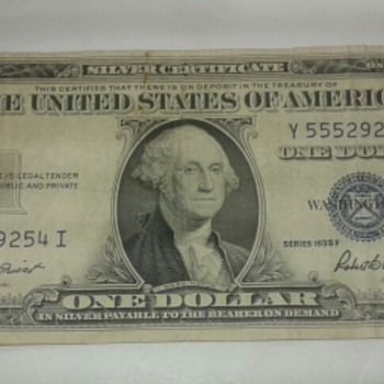 Series 1935 F  One dollar Bill -A - US Paper Money