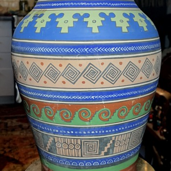 Another Aztec / Mayan Revival Pot - by Ladislao Ortega - Pottery