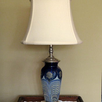 Durand Lamp on 1708 Blue Over Crystal w Peacock Feather and Cut Floral Décor Base - Art Glass