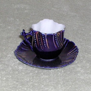 Cobalt Blue Porcelain Demitasse Cup & Saucer - China and Dinnerware