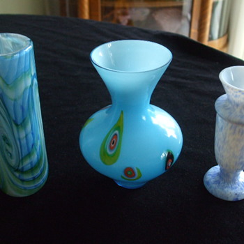 Feeling a Little BLUE- 3 Small Vases For Show! - Art Glass