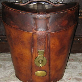 "Antique Leather ""Double"" Top Hat Case - Furniture"