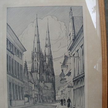 Etching of Eindhoven Cathedral/Gift to Herrn Major Klempin March 17, 1944